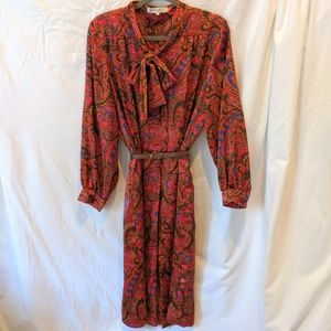 Vintage Givenchy Print Dress with Scarf US 12